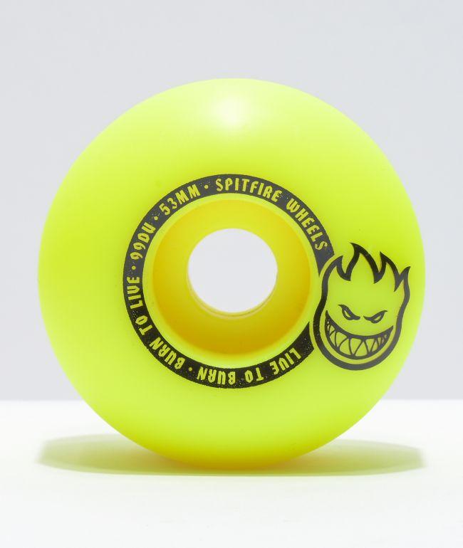 Spitfire Scorchers 53mm 99a Yellow & Black Skateboard Wheels