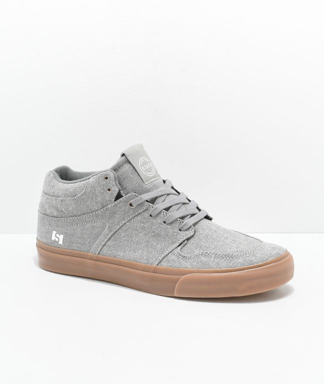 State Mercer Grey Chambray & Gum Skateboard Shoes