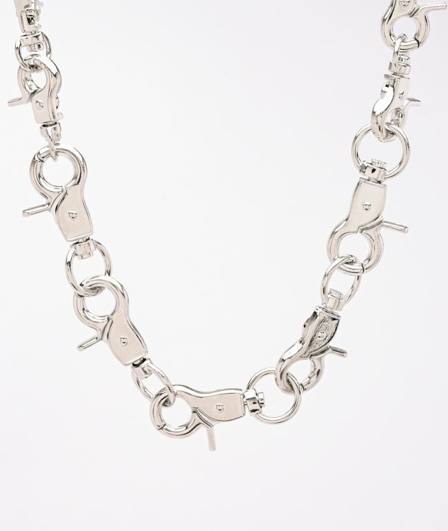 Stone + Locket Clasp On Clasp Silver Chain Necklace