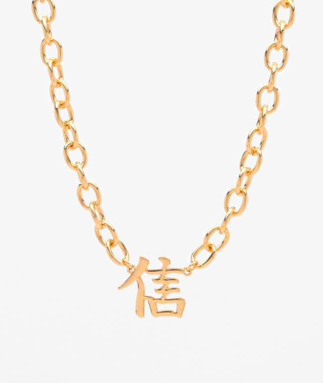 Stone + Locket Gold Kanji Trust Necklace