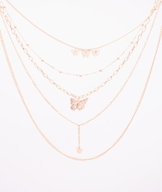 Stone + Locket Layered Butterfly Rose Gold Chain Necklace