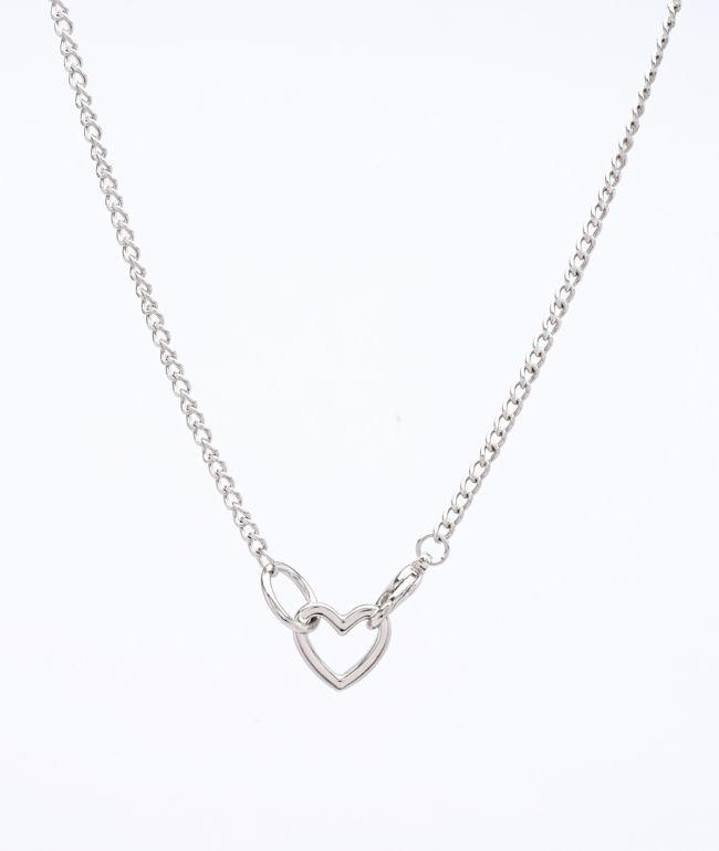 Stone + Locket Mini Heart & Clasp Silver Necklace