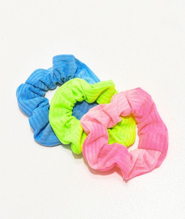 Stone + Locket Neon Pigment Blue, Green & Pink 3 Pack Scrunchies