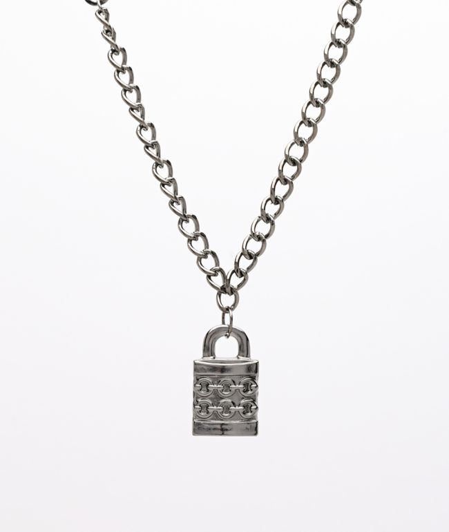 "Stone + Locket Padlock Gunmetal 24"" Necklace"