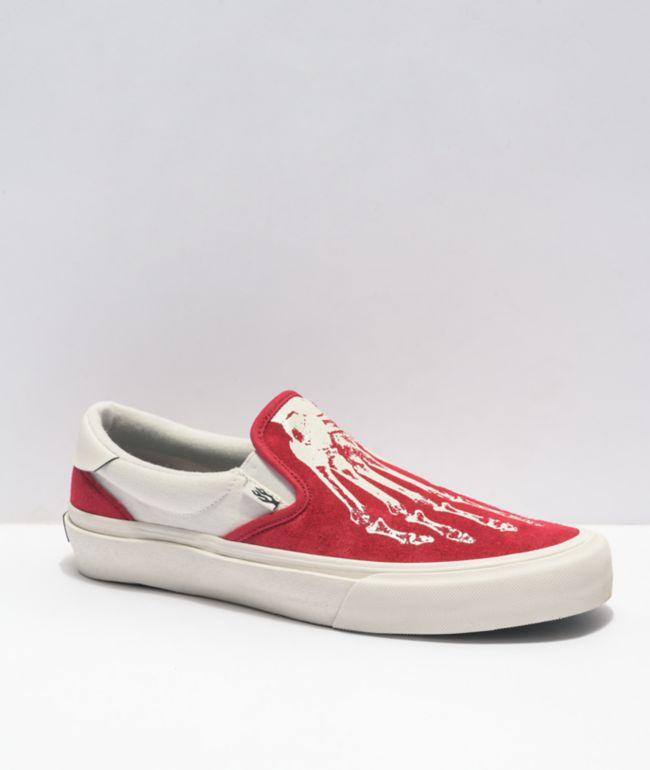 Straye Ventura X-Ray Crimson & Cream Slip-On Skate Shoes