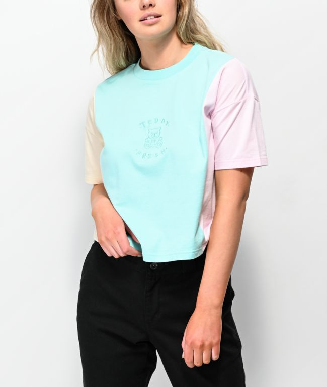 Teddy Fresh Pastel Colorblock Teddy Crop T-Shirt