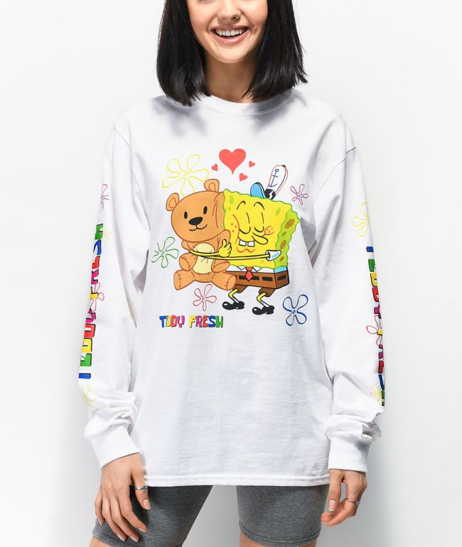 Teddy Fresh x SpongeBob SquarePants Bear Hug White Long Sleeve T-Shirt