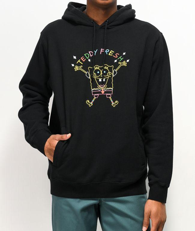 Teddy Fresh x SpongeBob SquarePants sudadera con capucha negra bordada