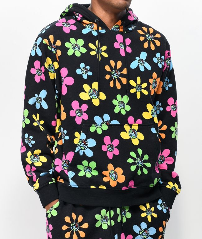 Teenage Allover Floral & Black Hoodie