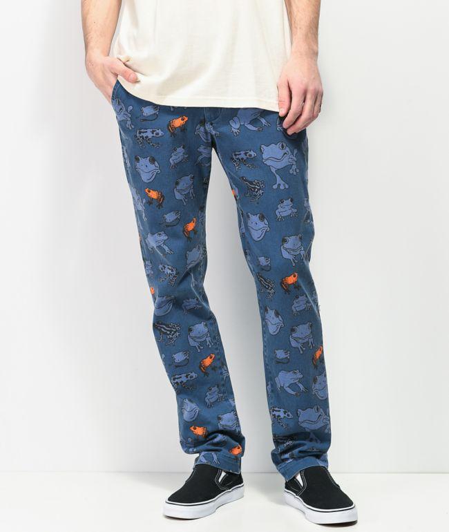 Teenage pantalones chinos azul marino con estampado de rana