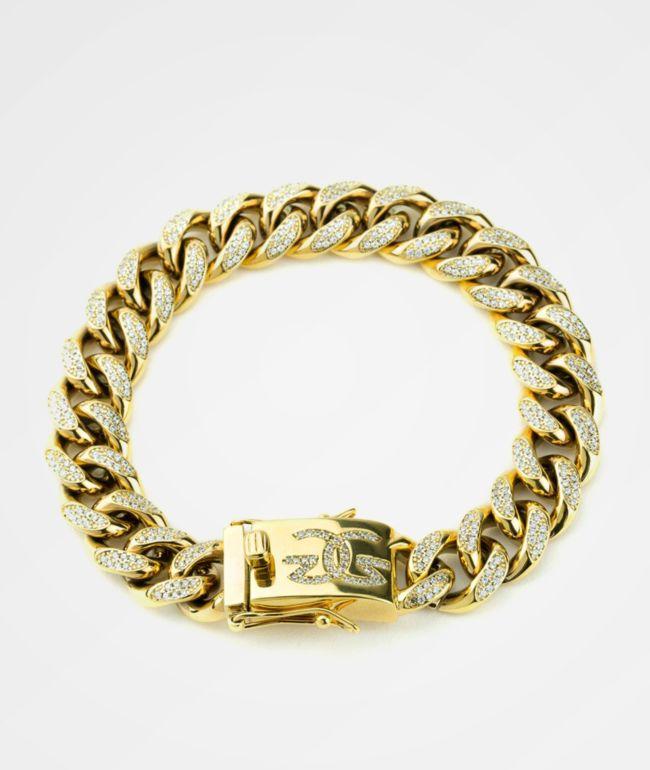 The Gold Gods 10MM Diamond Cuban Link Gold Bracelet
