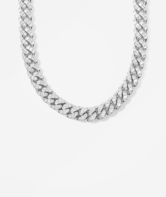 "The Gold Gods 12mm Diamond Miami Cuban 18"" White Gold Chain Necklace"
