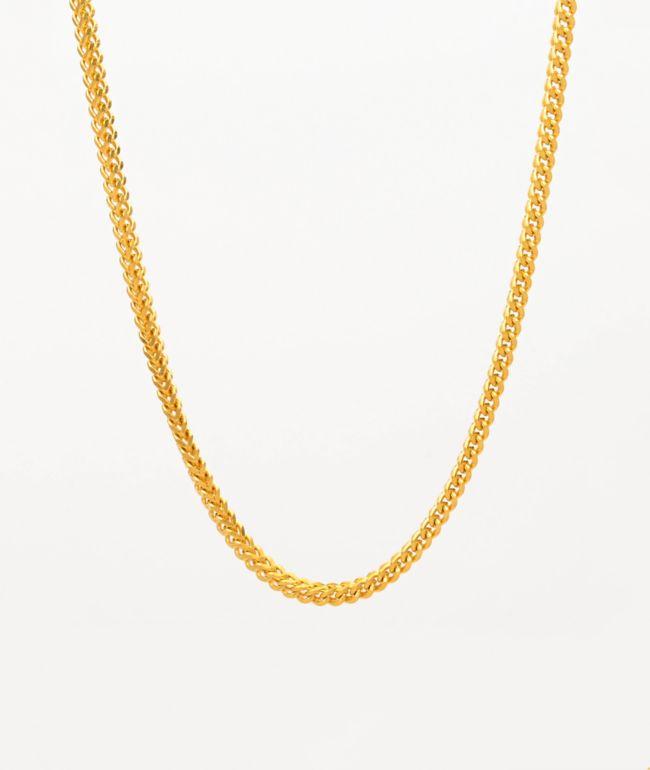 """The Gold Gods 22"""" Franco Box collar de cadena de oro amarillo"""