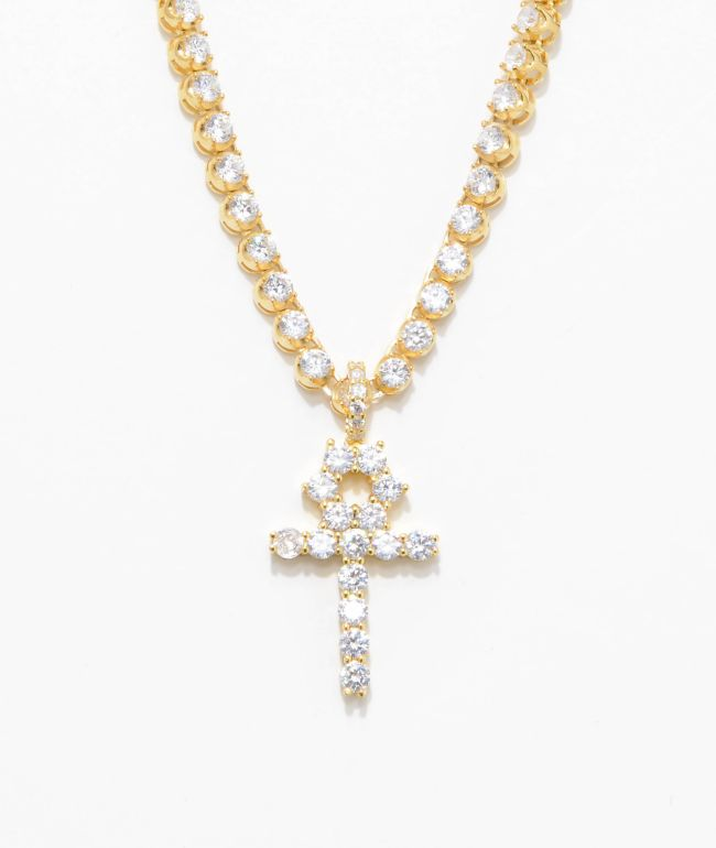 The Gold Gods Diamond Ankh Cross & 4mm Tennis Chain Necklace