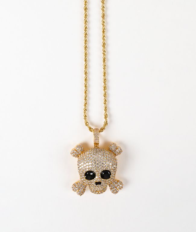 """The Gold Gods Skull 22"""" Rope Chain Yellow Gold Necklace"""