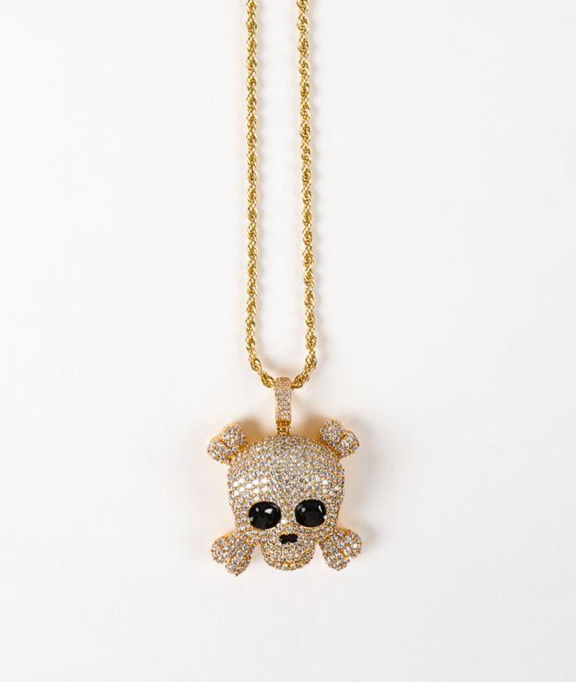 "The Gold Gods Skull 22"" collar de cadena de cuerda de oro amarillo"
