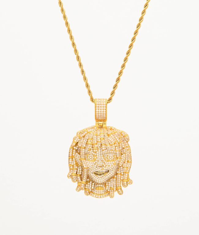 """The Gold Gods x Lil Pump Full Iced Face 22"""" Yellow Gold Necklace"""