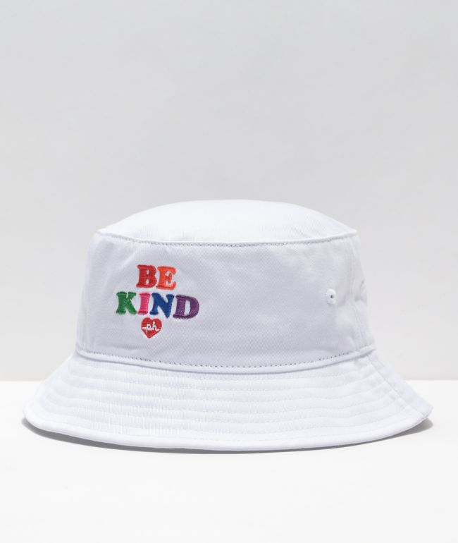 The Phluid Project Be Kind White Bucket Hat