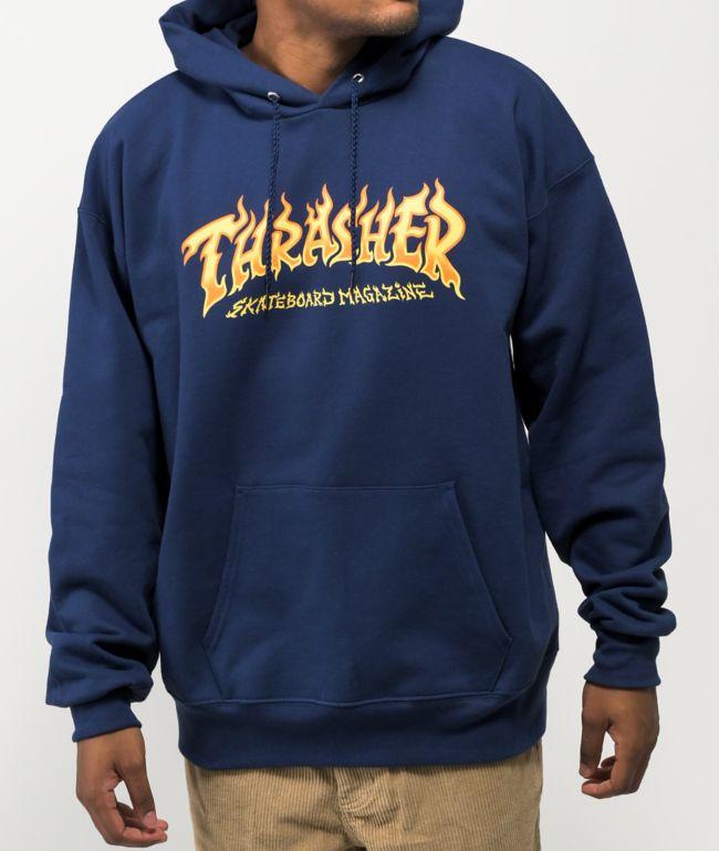 Thrasher Fire Logo Navy Hoodie