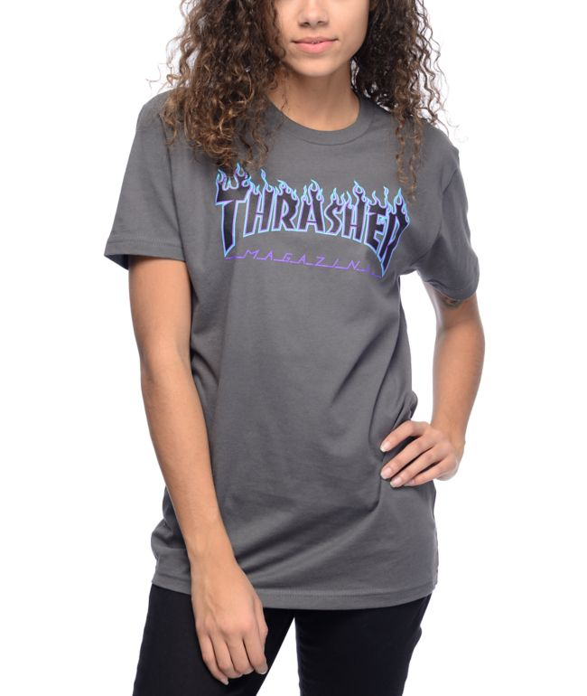 Thrasher Flame Logo Grey T-Shirt