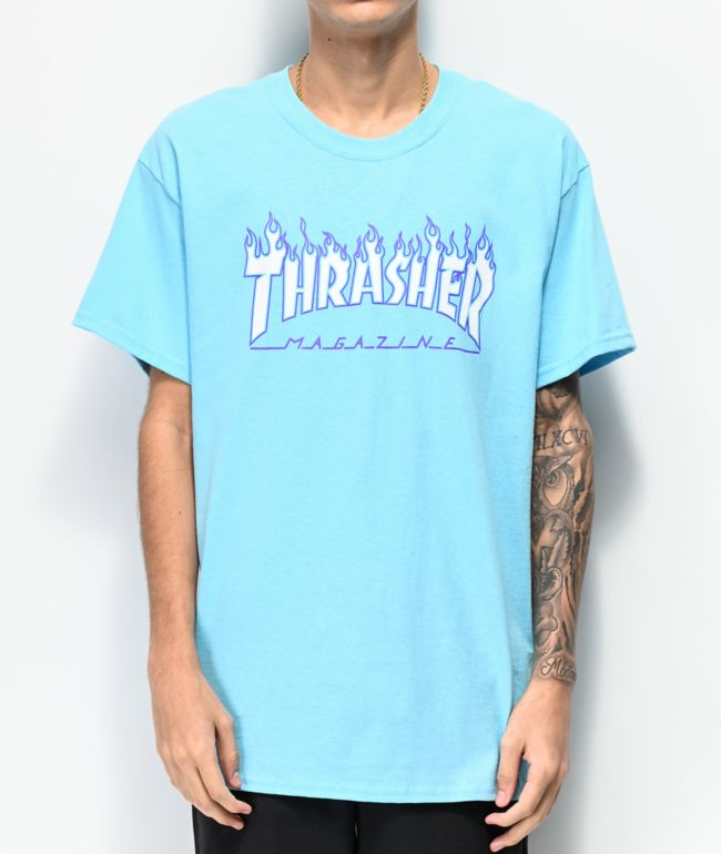 Thrasher Flame Sky Blue T-Shirt