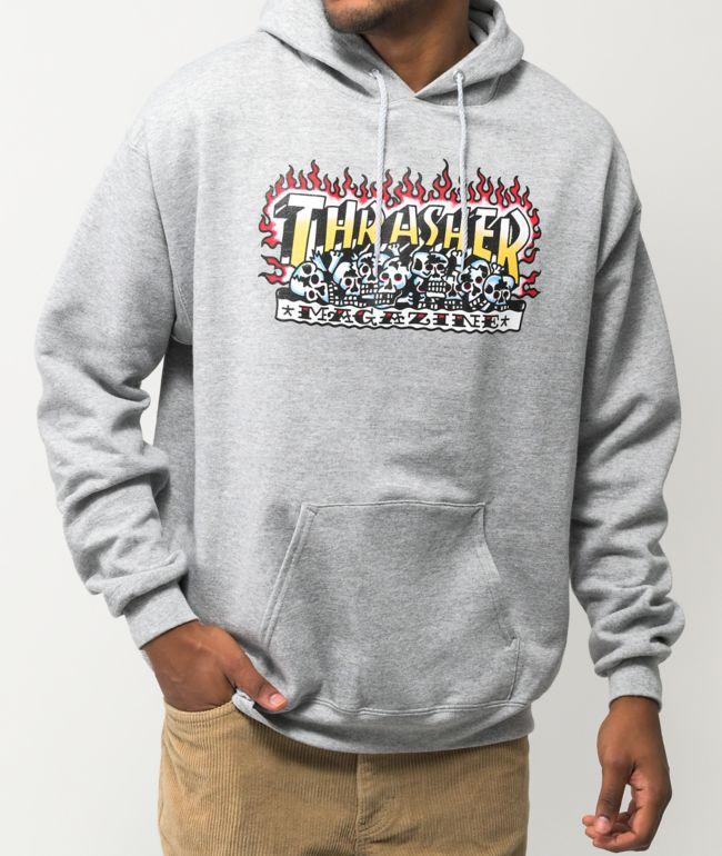 Thrasher Krak Skulls Grey Hoodie