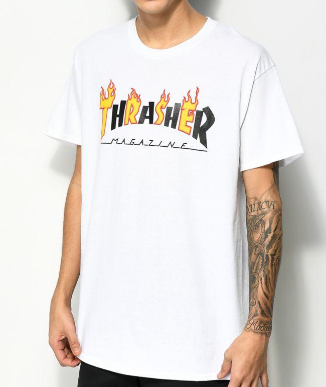 Thrasher Mag Flame camiseta blanca
