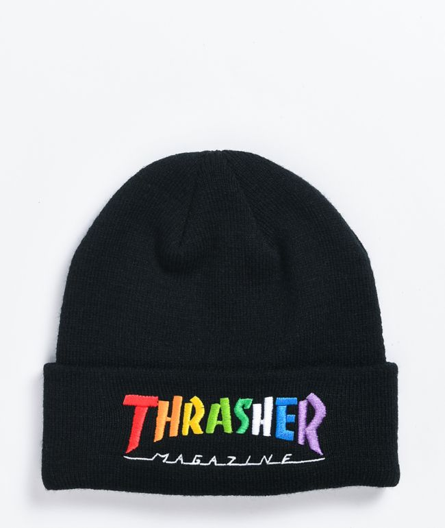 Thrasher Rainbow Script Black Beanie
