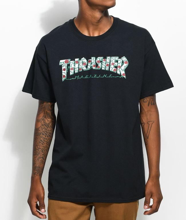 Thrasher Roses Black T-Shirt