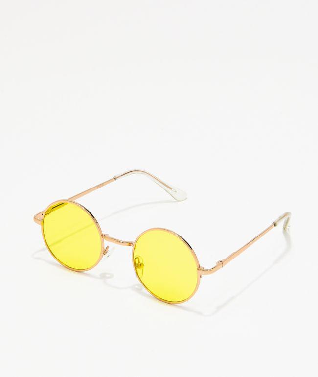 Tiny Yellow Round Sunglasses Zumiez