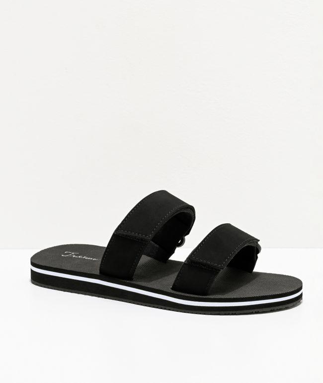 Trillium Black & White 2 Strap Slide Sandals