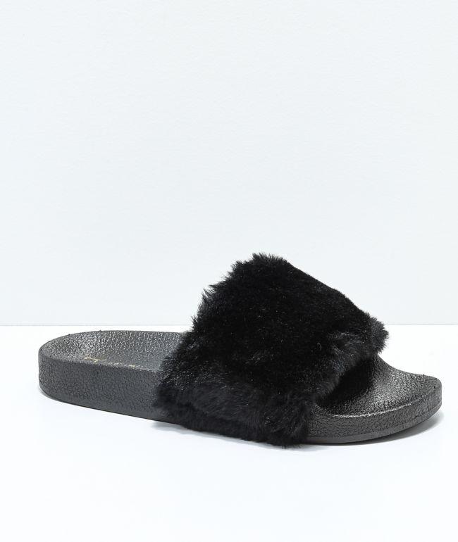 Trillium Black Fur Slide Sandals