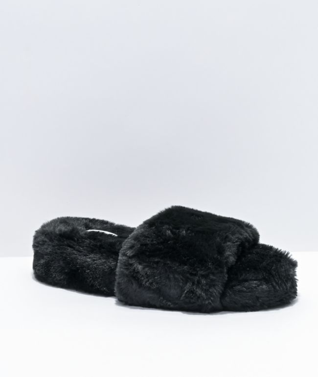 Trillium Black Furry Slide Sandals