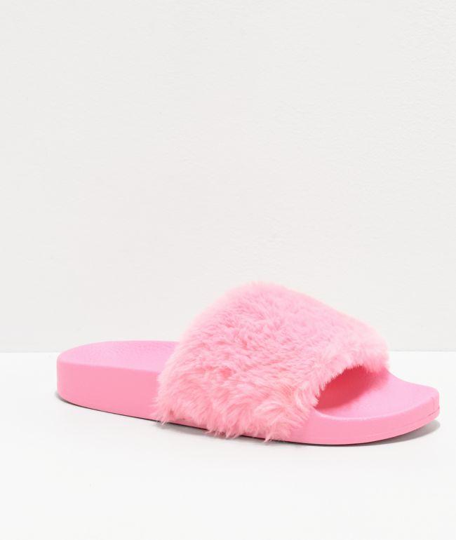 Trillium Bright Pink Fur Slide Sandals