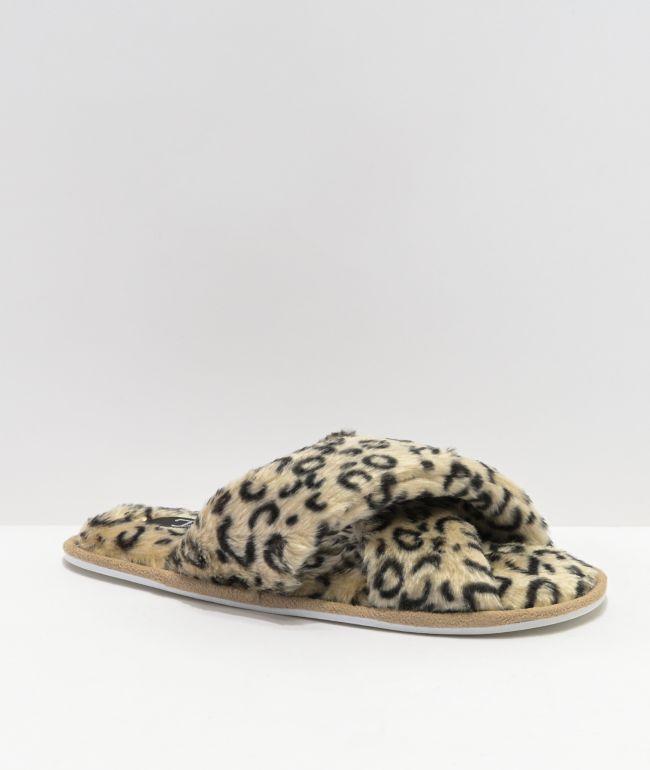 Trillium Furry Leopard Criss Cross Slide Sandals
