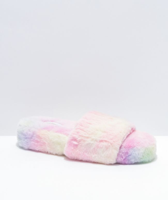 Trillium Tie Dye Furry Slide Sandals