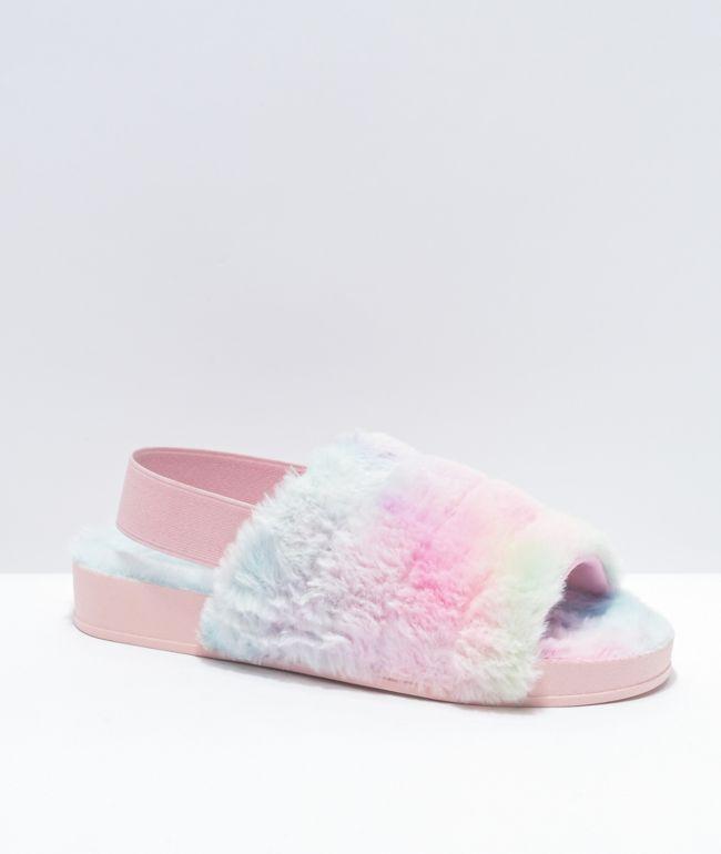 Trillium Wide Band Tie Dye Furry Slide Sandals