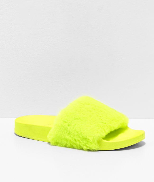 Trillium Yellow Fur Slide Sandals