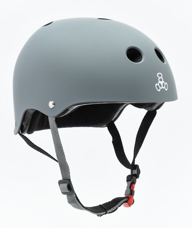 Triple Eight Certified Sweatsaver Carbon Grey Rubber Multi-Sport Helmet