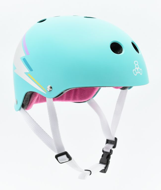 Triple Eight Certified Sweatsaver Teal Hologram Skateboard Helmet