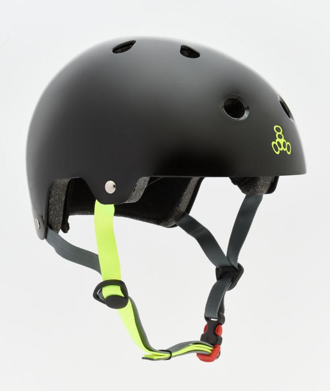 Triple Eight Dual Certified Glossy Black Skateboard Helmet