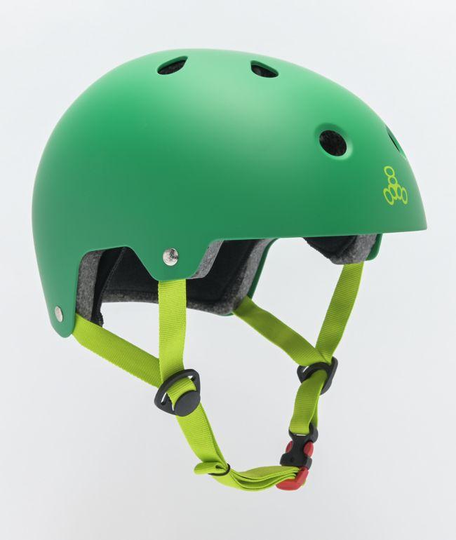 Triple Eight Dual Certified Matte Kelly Green Skateboard Helmet