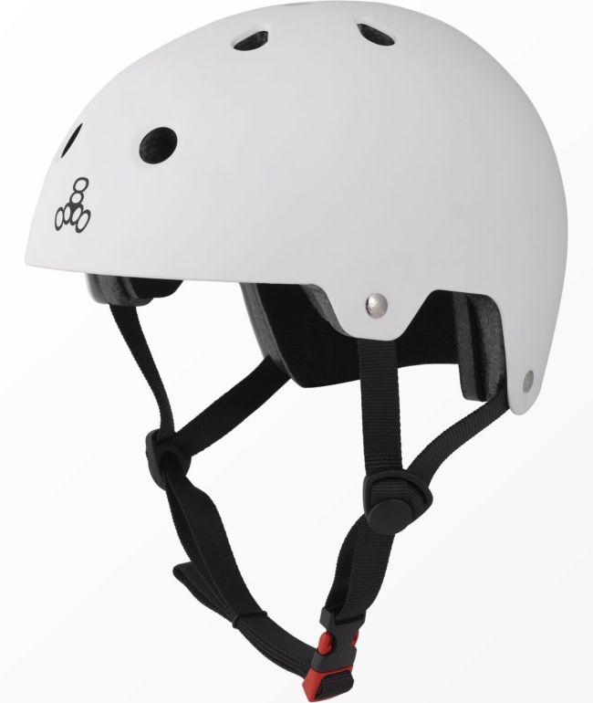 Triple Eight Dual Certified White Rubber Skateboard Helmet