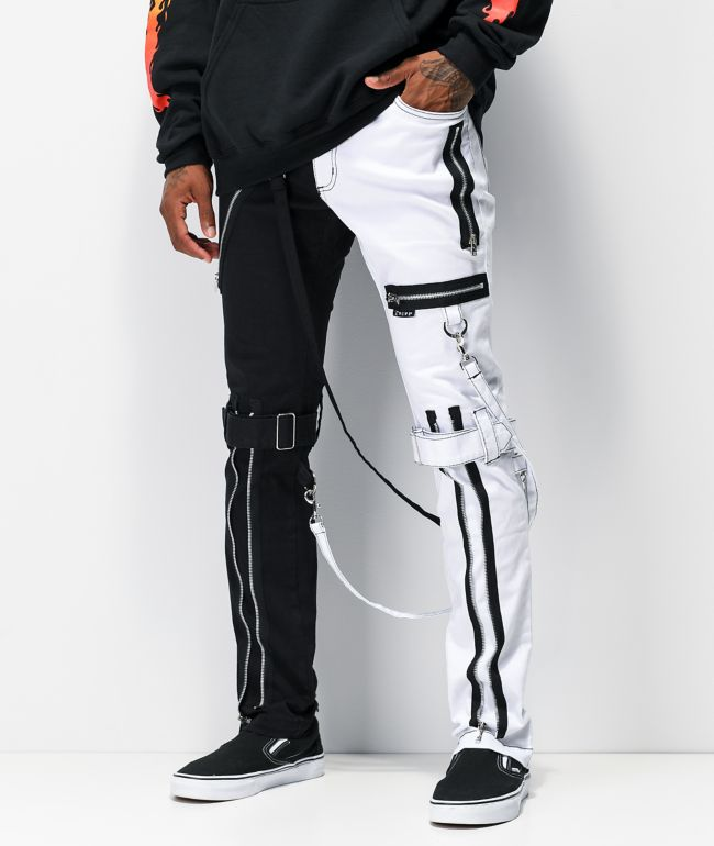 Tripp NYC Split Black & White Bondage Pants