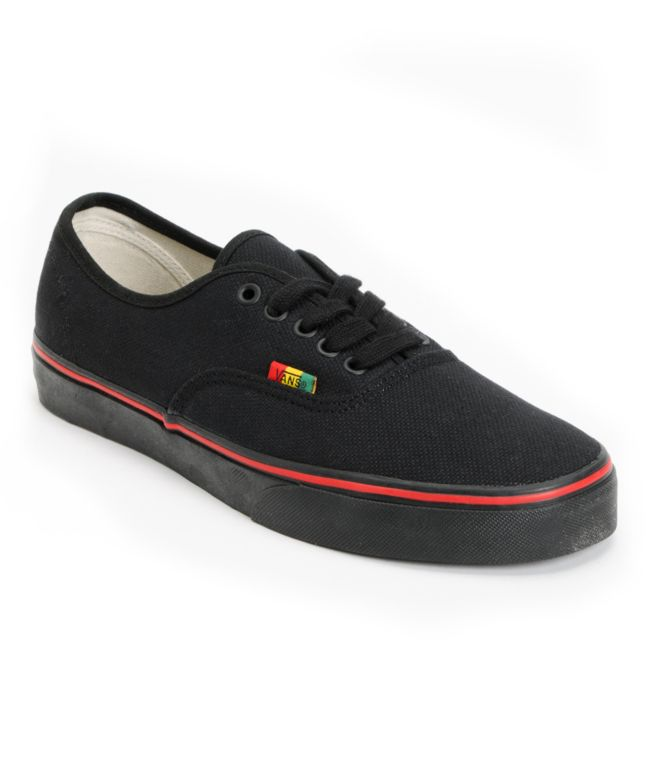 Vans Authentic Black & Rasta Hemp Skate Shoes | Zumiez