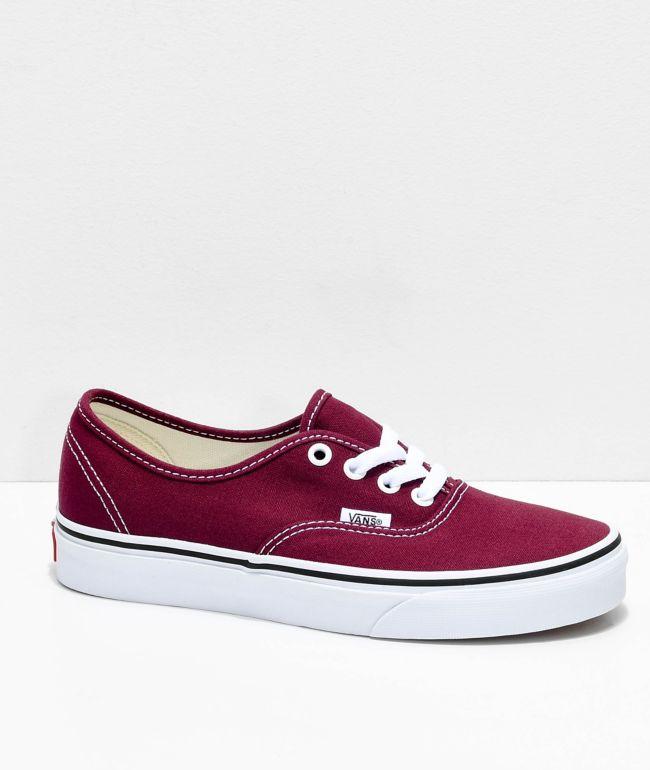 Vans Authentic Burgundy & White Skate Shoes