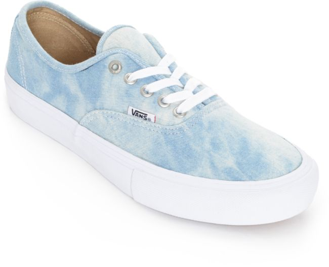 Vans Authentic Pro Denim and White Skate Shoes   Zumiez
