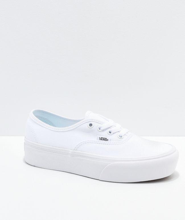 Vans Authentic True White Platform Shoes