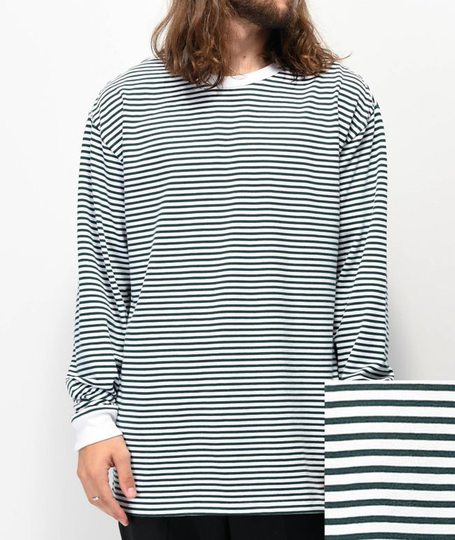 Vans Awbrey White & Green Stripe Knit Long Sleeve T-Shirt