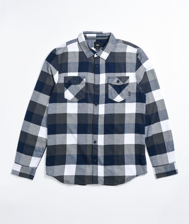 Vans Box White & Dress Blue Flannel Shirt